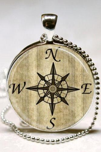 Nautical Jewelry Compass Necklace Windrose Glass Bezel Art Pendant