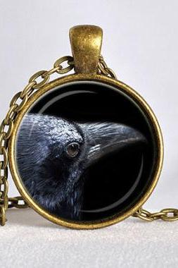 RAVEN PENDANT Black Raven Necklace Goth Jewelry Bird Necklace