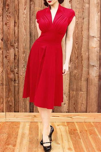 Vintage Inspired Red V Neck A Line Dress