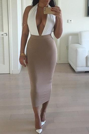 Sexy White And Coffee V Neck Dress