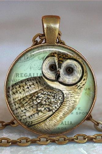 Vintage Owl pendant, owl necklace, owl jewelry pendant, owl keychain