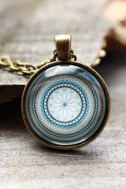 Spiritual necklace Flower Mandala pendant Sacred geometry