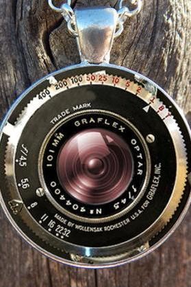 VINTAGE CAMERA PENDANT Antique Camera Lens Pendant Gray Black