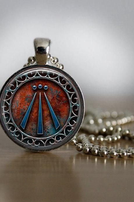 Awen Symbol Druid Pendant in Silver Plated Bezel with Chain