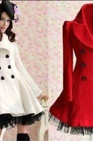 Red Wool Long Winter Dress Coat