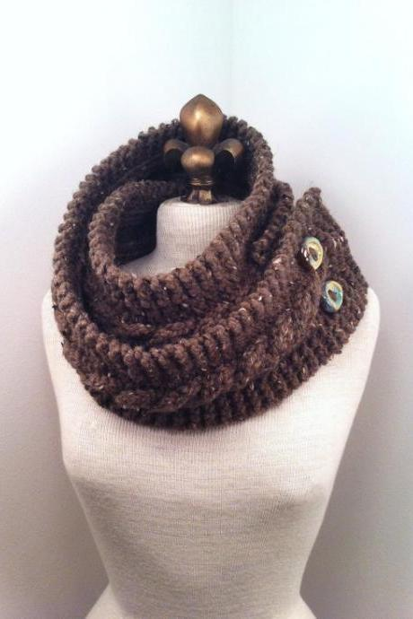 Infinity Scarf Cowl with Artisan Buttons - Barley