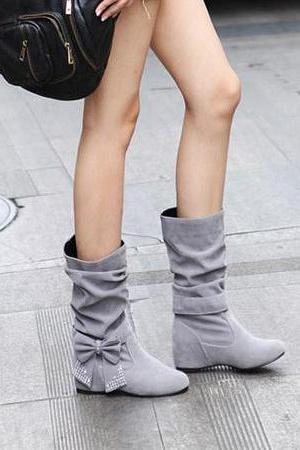 Fashion Round Toe Bow Tie Wedge Low Heel Slip On Beige Short PU Cavalier Boots