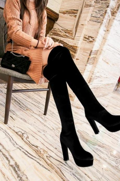 Cheap Winter Fashion Round Toe Slip On Chunky Super High Heel Black Suede Knee High Martens Boots