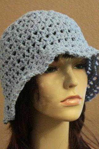 Crochet Beach Hat Summer Beach Floppy Wide Brim Powder Blue