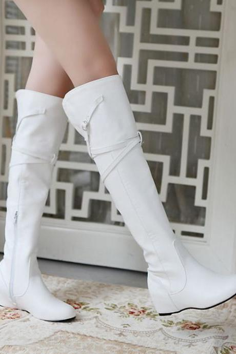 Fashion Round Toe Wedge Mid Heel Slip On Ankle Buckle White Patent Leather Martens Boots