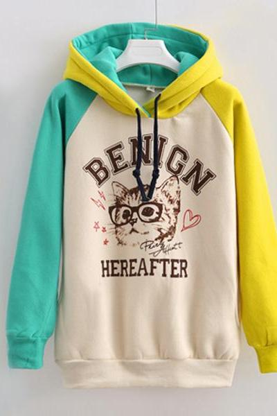Fashion Mixed Colors Cat Hooded Sweater Cartoon Glasses Hoodie