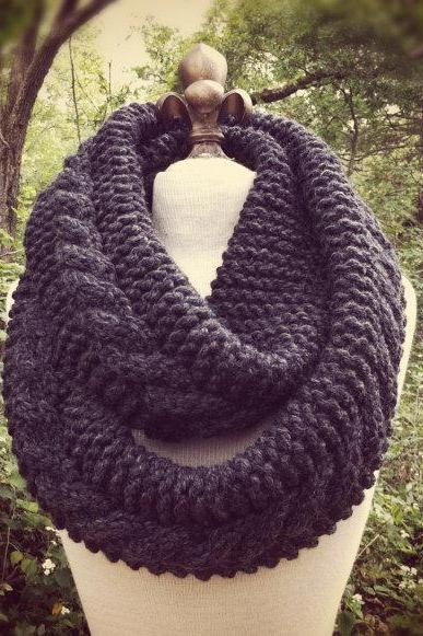 Chunky Infinity Scarf Loop Cowl - Charcoal - MADE TO ORDER