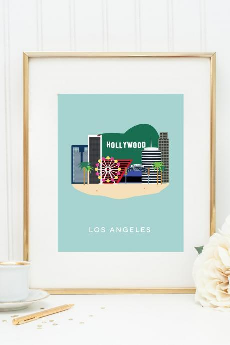 Los Angeles City Print, LA Skyline, California Art Print, Skyline Art, Digital Art Print, Gift for Her