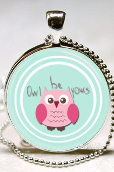 Pink owl always be yours green glass round necklace or keychain woodland