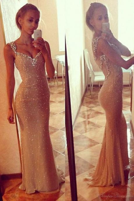 Sexy Sweetheart Spaghetti Straps Mermaid Prom Dresses Beaded Evening Dresses