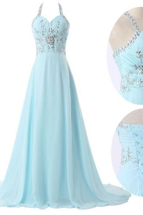 Beautiful Light Blue Long Chiffon Prom Dresses 2016 ,Gril Evening Dresses for Pary,Nice Evening Dresses