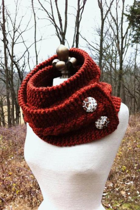 Infinity Scarf Cowl with Vintage Covered Buttons - Rust