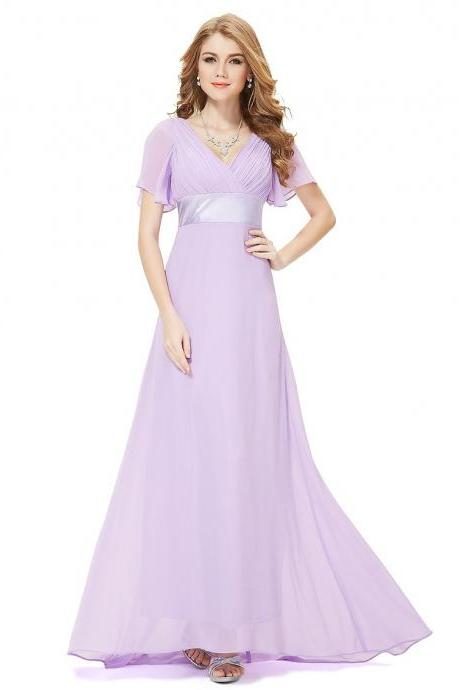 Pleat Chiffon Long Light Purple Evening Dresses,V Neck Prom Dresses, Long Women Evening Dresses Gown