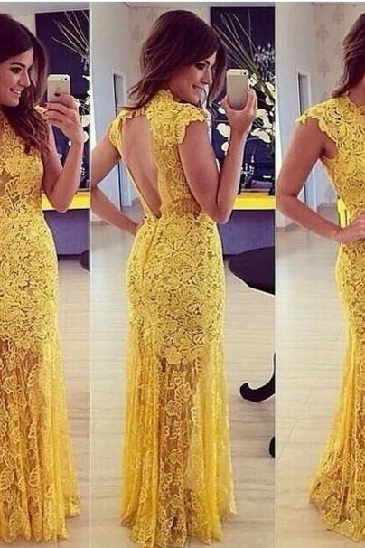 Big Yellow Open Back Women Dresses ,Lace Formal Evening Dresses,Fashion Floor length Special Occasion Dresses
