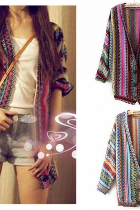 Fashion Loose Long Sleeve Colorful Striped Women Knit Sweater