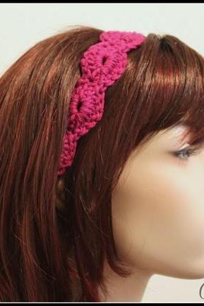 Womens Headband Crochet Hair Tie Magenta