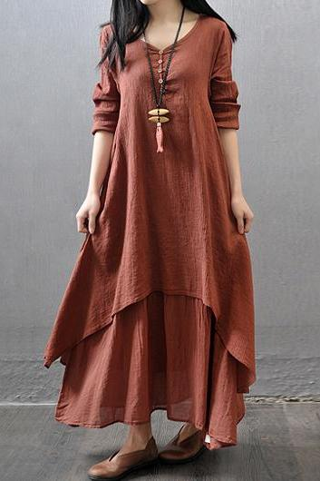Casual Long Sleeve Button Decorated Rust Maxi Dress (3 Colors)