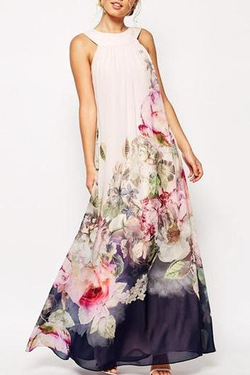 Fashion Hollow Back Flower Printed Chiffon Maxi Dress