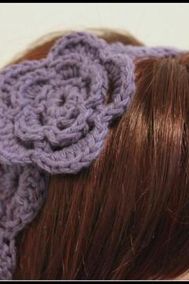 Womens Flower Headband Purple Crochet Hair Tie