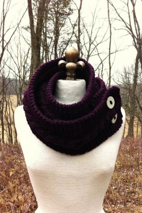 Infinity Scarf Cowl with Artisan Buttons - Eggplant