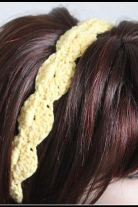Women's Crochet Headband Yellow Hair Tie
