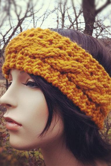 Chunky Cable Headband Earwarmer - Butterscotch - MADE TO ORDER