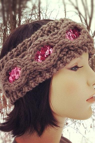 Flapper Girl Sequin Headband Earwarmer - Taupe and Pink