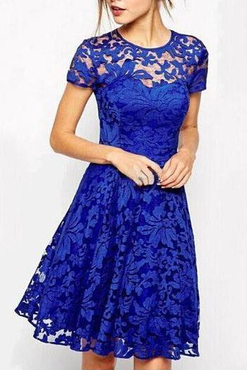 Royal Blue Short Sleeve Lace Dress