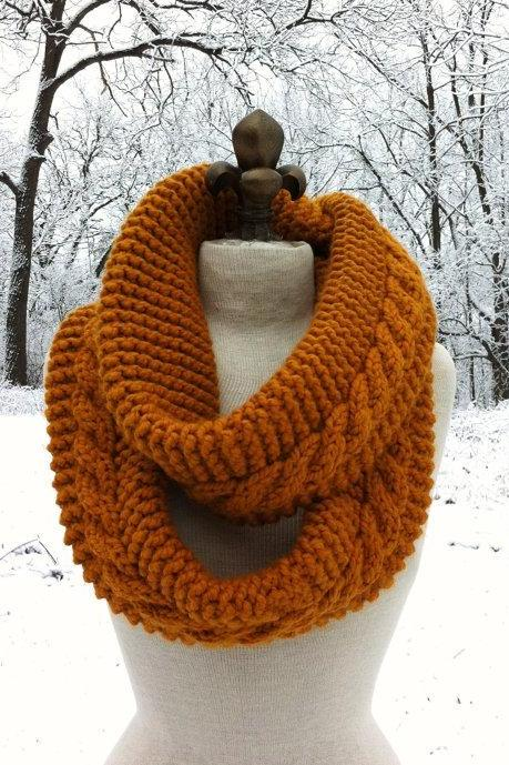 Chunky Infinity Scarf Loop Cowl - Butterscotch - MADE TO ORDER