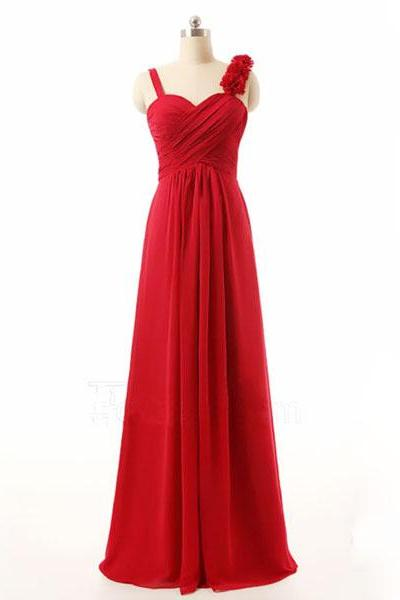 long bridesmaid dress, red bridesmaid dress, cheap bridesmaid dress, chiffon bridesmaid dress, simple bridesmaid dress, 14961