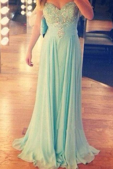Charming Sweetheart Long Chiffon Beadings Prom Dress 2016, Simple Prom Dresses 2016, Long Prom Dresses, Evening Gowns