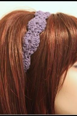 Dusty Purple Crochet Headband Hair Tie