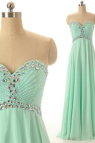 Mint Green Sweetheart Neckline Chiffon Bridesmaid Dress with Crystal Beading