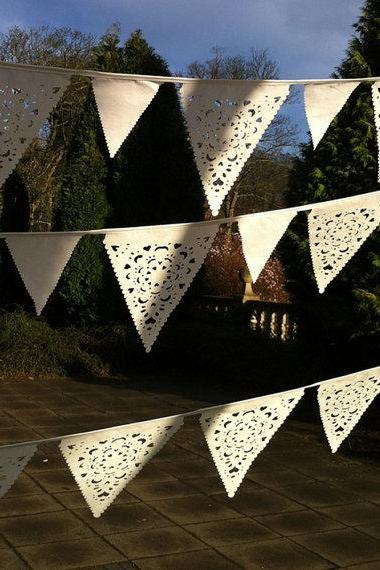 Ivory vintage wedding bunting, outdoor wedding decorations, lace wedding banner