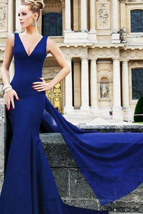 Royal Blue Cross Back Long Mermaid Dress