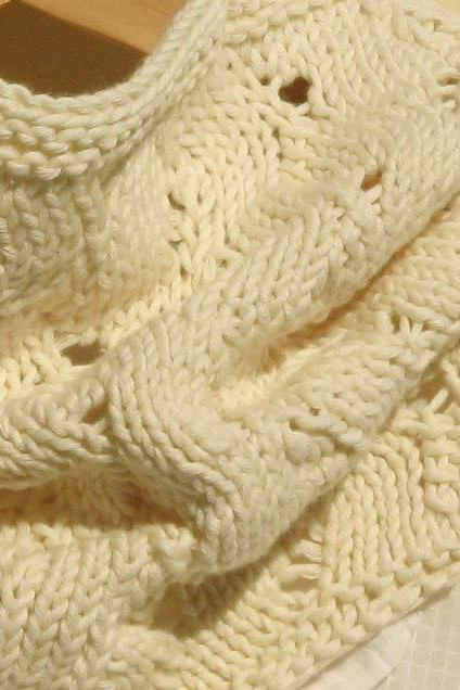 Neck warmers - Knitted vegan cowl - Cotton - Cream, natural color