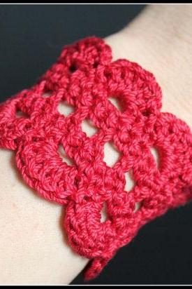 Crochet Bracelet Lace Cuff Red