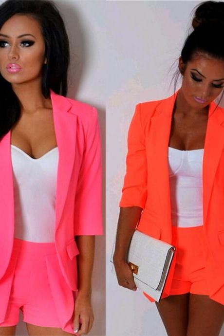 Casual Slim Solid Suit Blazer Jacket Coat Outwear Women Fashion Candy Color