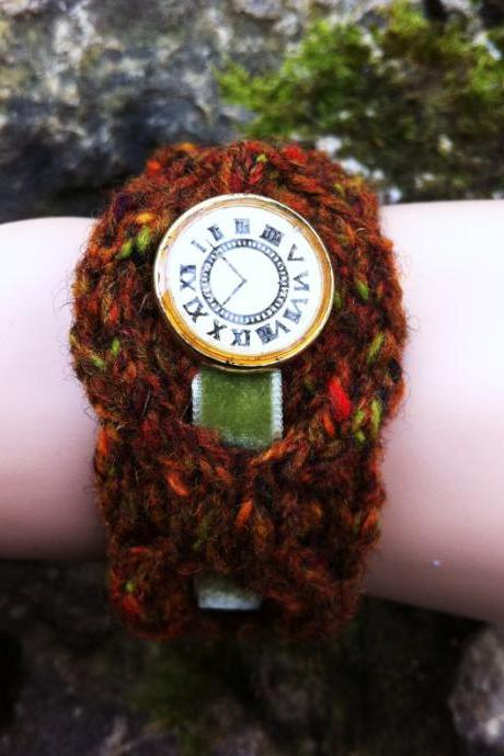 Cable Bracelet Cuff with Watch Face Button and Velvet Ribbon - Rust Tweed SUPER SALE DISCONTINUED