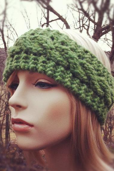 Chunky Cable Headband Earwarmer - Grass - MADE TO ORDER