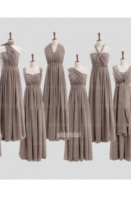 long bridesmaid dress, gray bridesmaid dress, convertible bridesmaid dress, chiffon bridesmaid dress, cheap bridesmaid dress, 14982