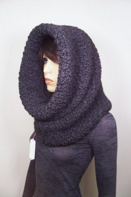 Oversized Chunky Cowl Snood Hood Scarf - Charcoal Grey - MADE TO ORDER