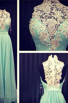long prom dress, mint prom dress, party prom dress, prom dress with lace, long evening dress, prom dress 2015, cheap prom dress, 14979