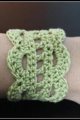Crochet Cuff Lace Bracelet Lime green