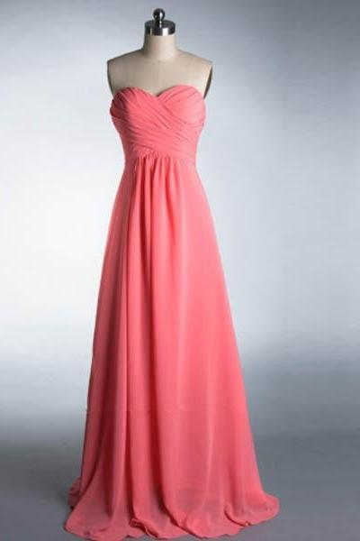 long bridesmaid dress, peach bridesmaid dress, cheap bridesmaid dress, chiffon bridesmaid dress, simple bridesmaid dress, 14999